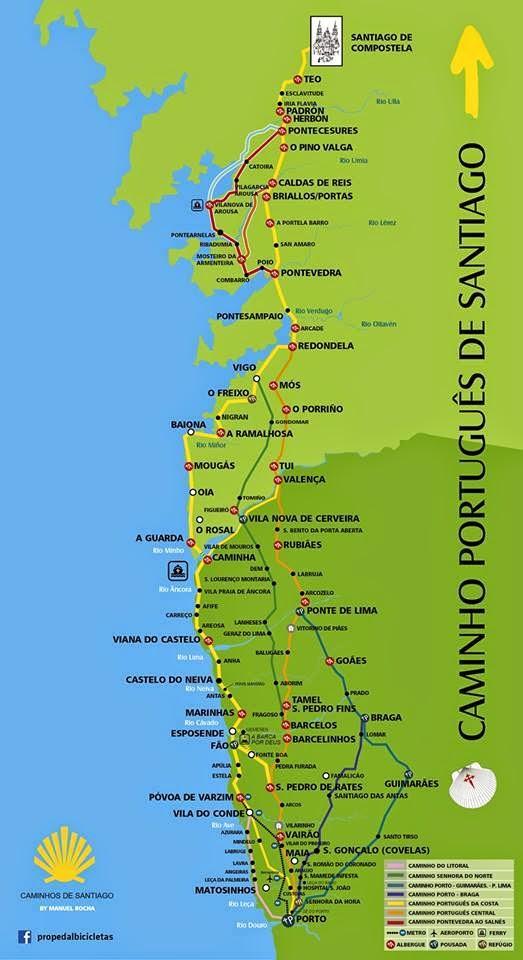 Camino Portugues Karte.Camino Portugues Pakrančių Maršrutų žemėlapis Portugalijos Camino